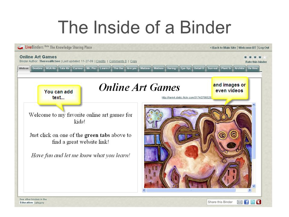 The Outside of a Binder Embed icon in an emailEmbed in a blog