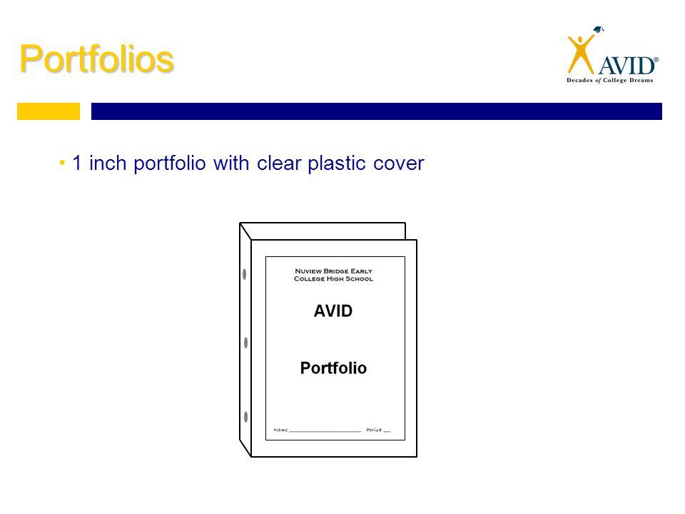 Portfolios 1 inch portfolio with clear plastic cover