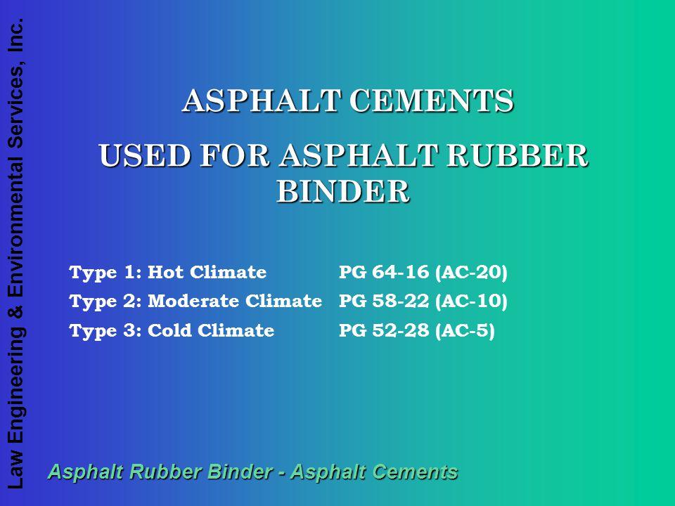Law Engineering & Environmental Services, Inc. Asphalt Rubber Binder - Asphalt Cements ASPHALT CEMENTS ASPHALT CEMENTS USED FOR ASPHALT RUBBER BINDER