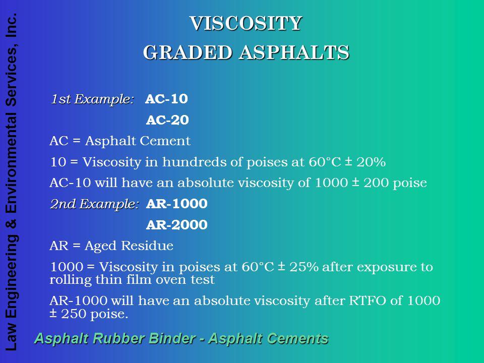 Law Engineering & Environmental Services, Inc. Asphalt Rubber Binder - Asphalt Cements VISCOSITY GRADED ASPHALTS 1st Example: 1st Example: AC-10 AC-20