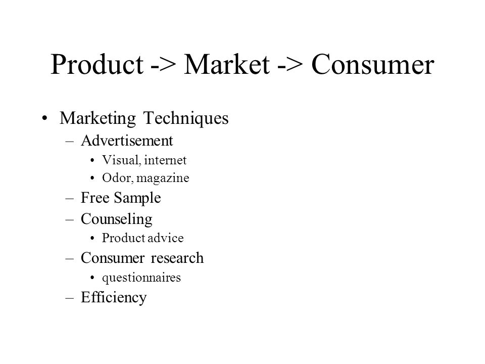 Product -> Market -> Consumer Marketing Techniques –Advertisement Visual, internet Odor, magazine –Free Sample –Counseling Product advice –Consumer research questionnaires –Efficiency