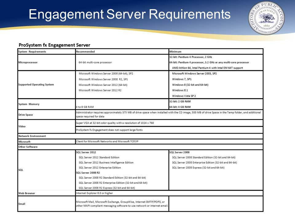 Engagement Server Requirements