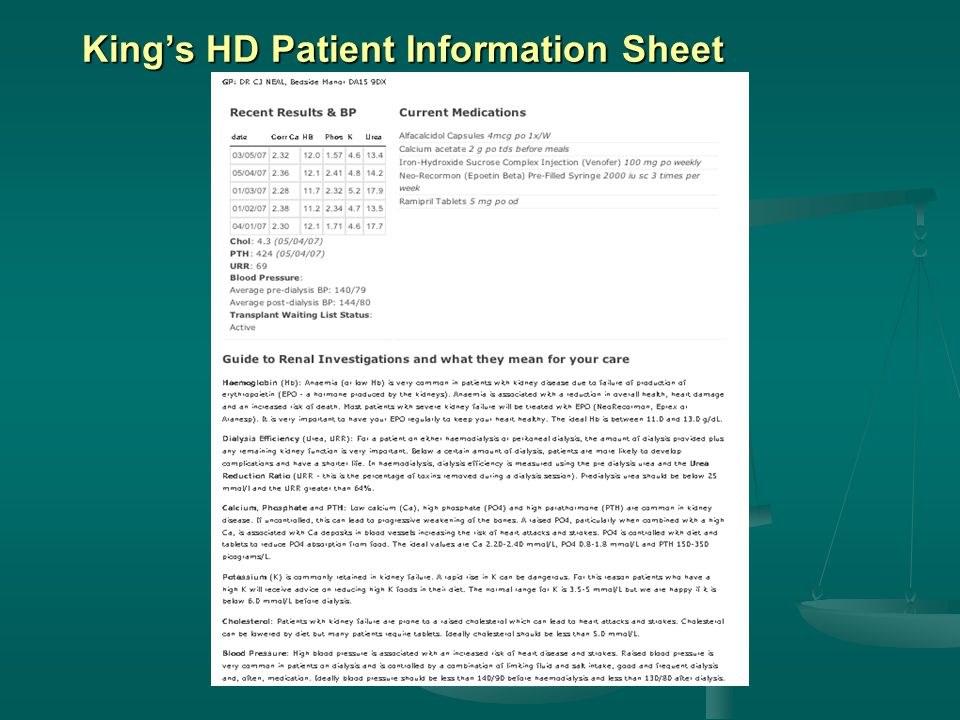 King's HD Patient Information Sheet