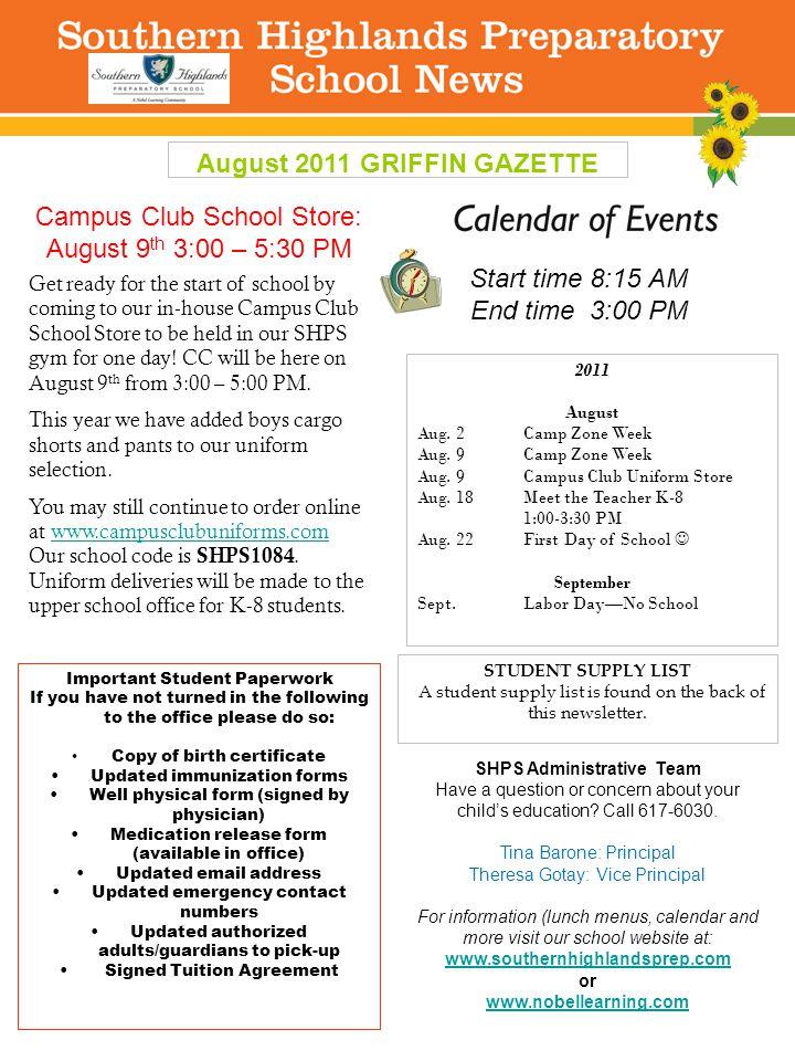 August 2011 GRIFFIN GAZETTE 2011 August Aug. 2Camp Zone Week Aug.