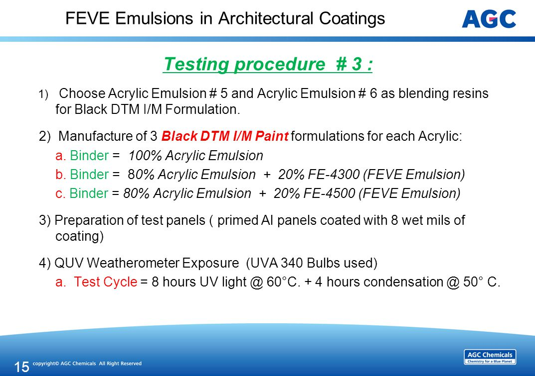 FEVE Emulsions in Architectural Coatings Testing procedure # 3 : 1) Choose Acrylic Emulsion # 5 and Acrylic Emulsion # 6 as blending resins for Black DTM I/M Formulation.