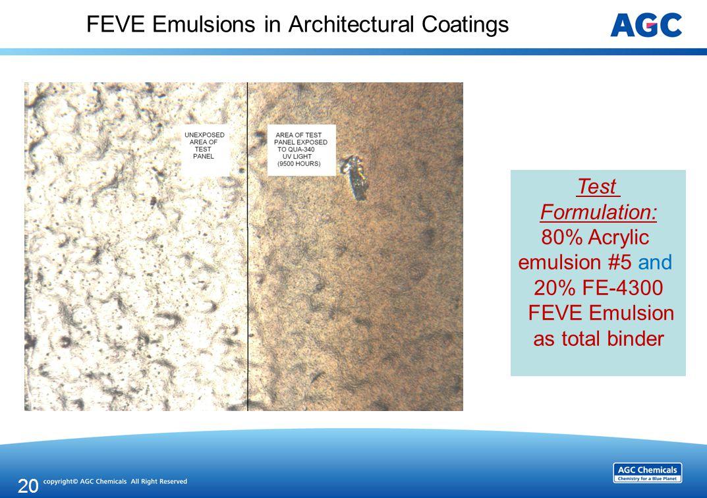 FEVE Emulsions in Architectural Coatings 20 Test Formulation: 80% Acrylic emulsion #5 and 20% FE-4300 FEVE Emulsion as total binder