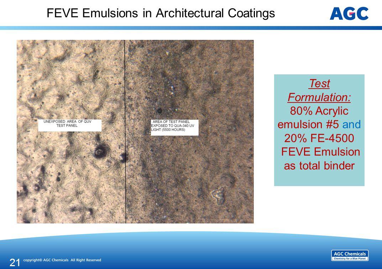 FEVE Emulsions in Architectural Coatings 21 Test Formulation: 80% Acrylic emulsion #5 and 20% FE-4500 FEVE Emulsion as total binder