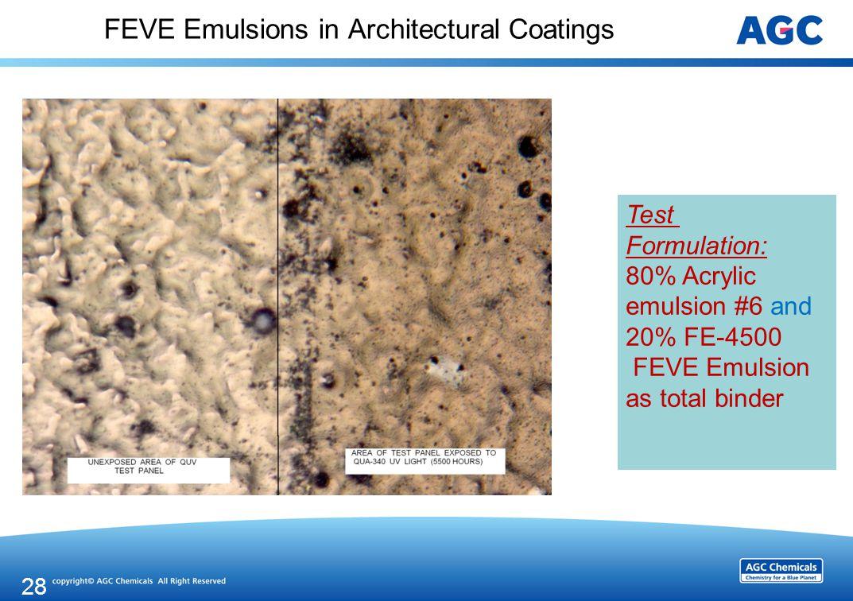 FEVE Emulsions in Architectural Coatings 28 Test Formulation: 80% Acrylic emulsion #6 and 20% FE-4500 FEVE Emulsion as total binder