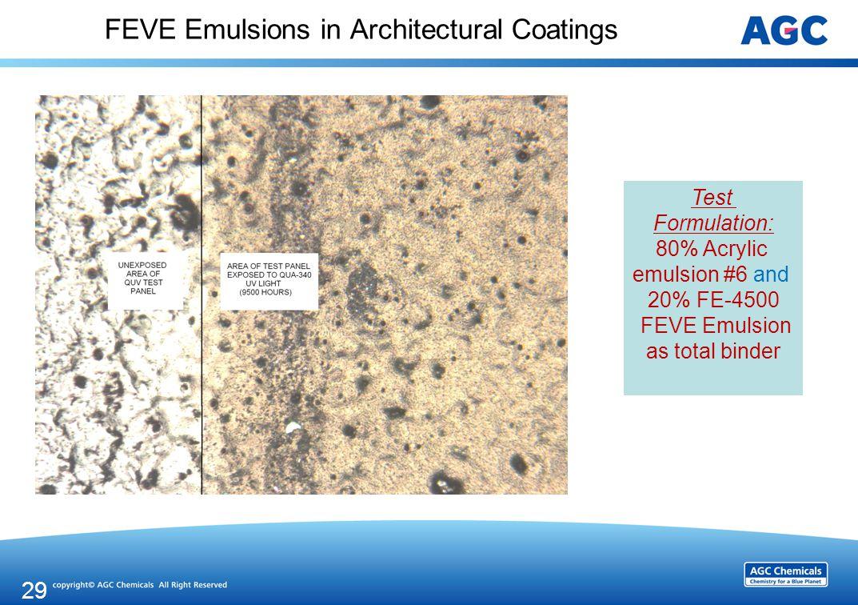 FEVE Emulsions in Architectural Coatings 29 Test Formulation: 80% Acrylic emulsion #6 and 20% FE-4500 FEVE Emulsion as total binder