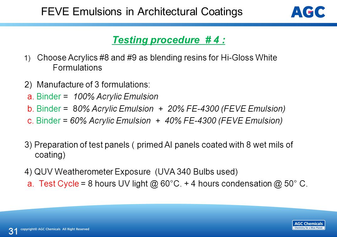 FEVE Emulsions in Architectural Coatings Testing procedure # 4 : 1) Choose Acrylics #8 and #9 as blending resins for Hi-Gloss White Formulations 2) Manufacture of 3 formulations: a.