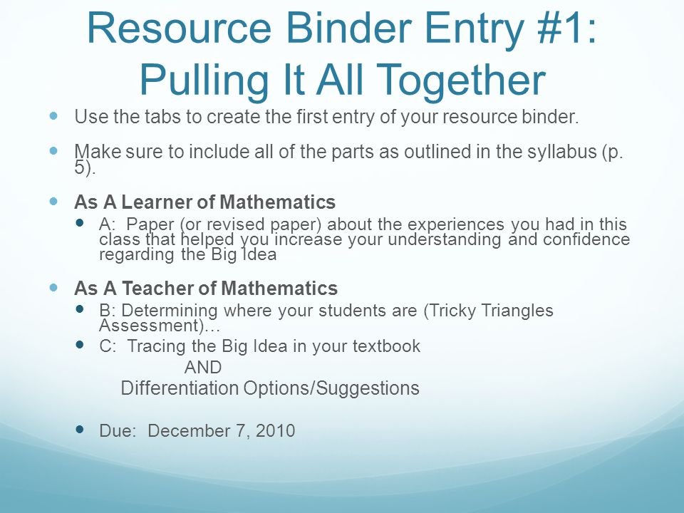 Resource Binder Entry #1: Pulling It All Together Use the tabs to create the first entry of your resource binder.