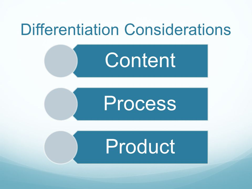 Differentiation Considerations Content Process Product