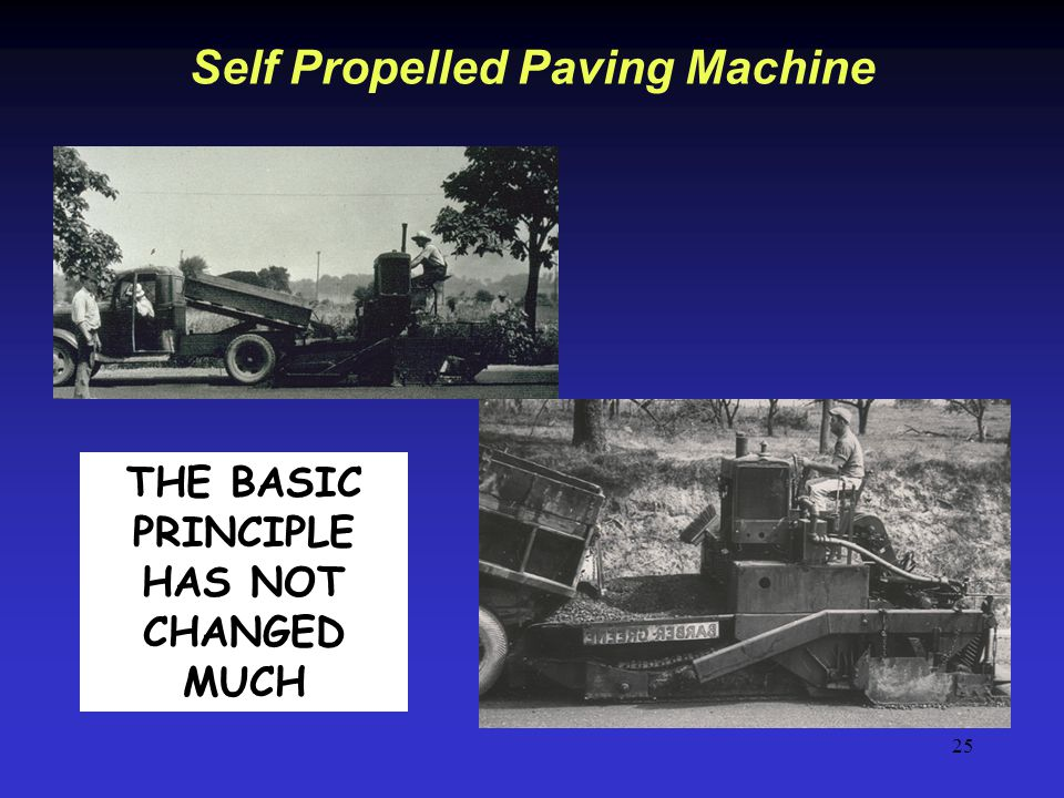 25 Self Propelled Paving Machine THE BASIC PRINCIPLE HAS NOT CHANGED MUCH