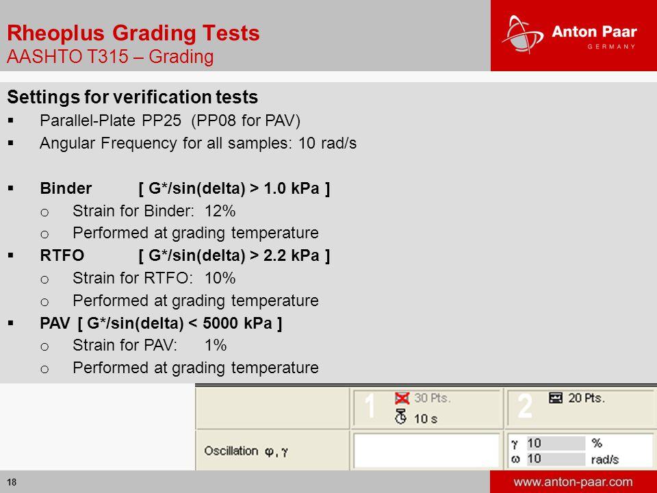 18 Rheoplus Grading Tests AASHTO T315 – Grading Settings for verification tests  Parallel-Plate PP25 (PP08 for PAV)  Angular Frequency for all samples: 10 rad/s  Binder[ G*/sin(delta) > 1.0 kPa ] o Strain for Binder:12% o Performed at grading temperature  RTFO[ G*/sin(delta) > 2.2 kPa ] o Strain for RTFO:10% o Performed at grading temperature  PAV [ G*/sin(delta) < 5000 kPa ] o Strain for PAV:1% o Performed at grading temperature