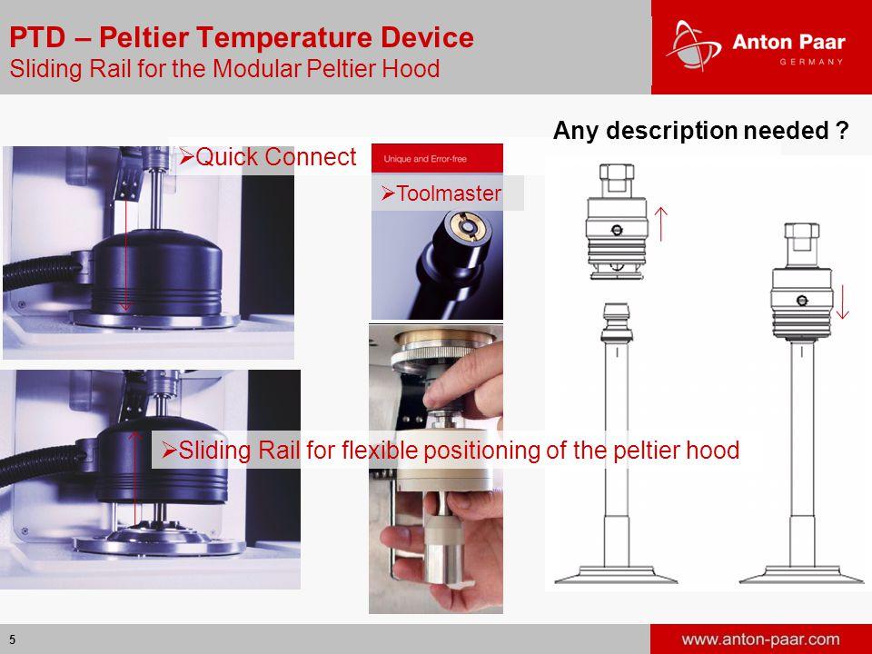 5 PTD – Peltier Temperature Device Sliding Rail for the Modular Peltier Hood  Quick Connect Any description needed .