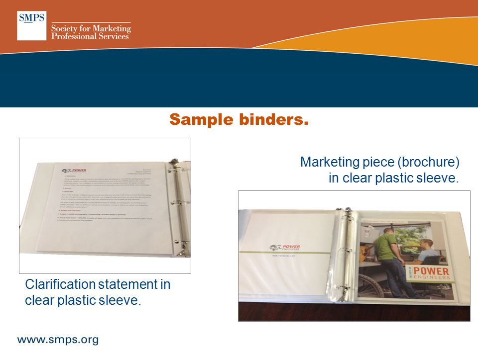 Clarification statement in clear plastic sleeve. Marketing piece (brochure) in clear plastic sleeve. Sample binders.