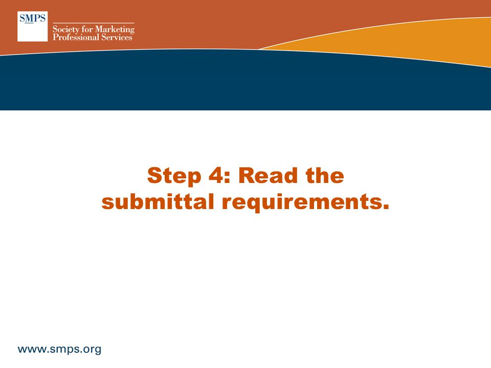 Step 4: Read the submittal requirements.