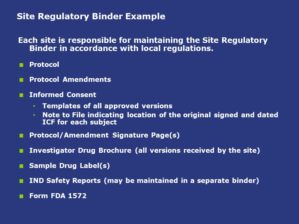 Site Regulatory Binder Example Each site is responsible for maintaining the Site Regulatory Binder in accordance with local regulations.  Protocol 