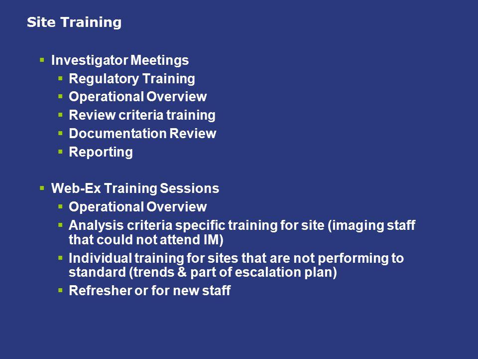 Site Training  Investigator Meetings  Regulatory Training  Operational Overview  Review criteria training  Documentation Review  Reporting  Web