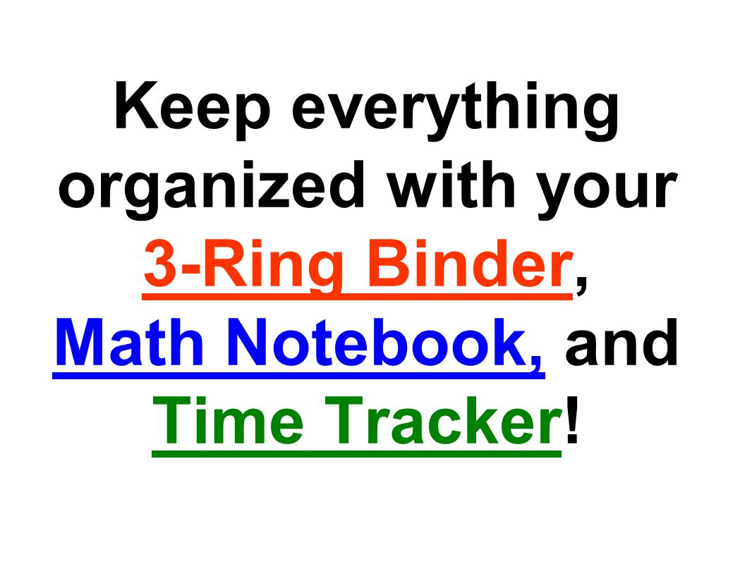 How should I use my 3-Ring Binder?