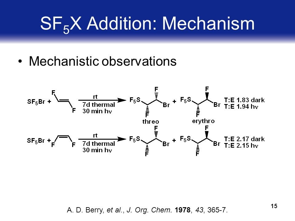 15 SF 5 X Addition: Mechanism Mechanistic observations A.