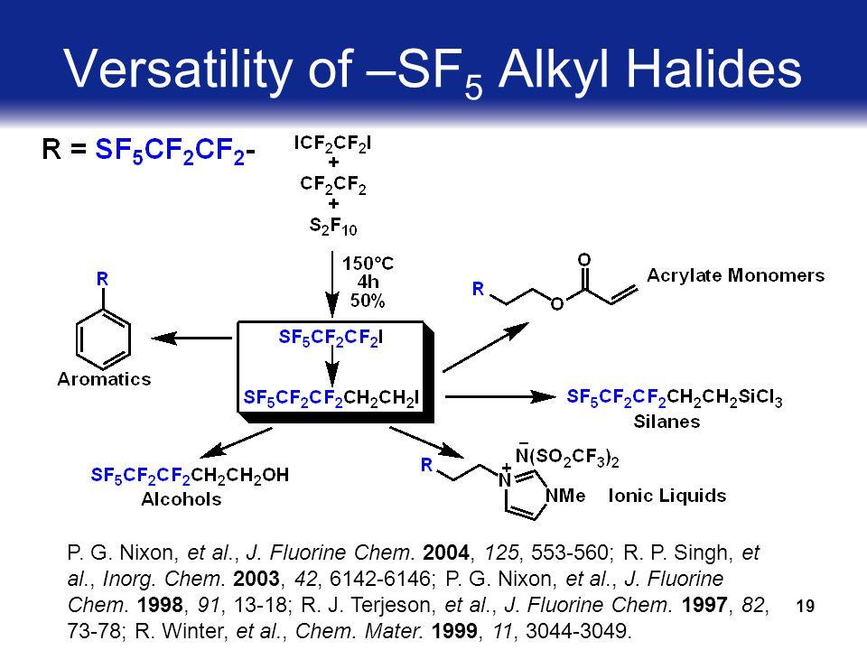 19 Versatility of –SF 5 Alkyl Halides P. G. Nixon, et al., J.