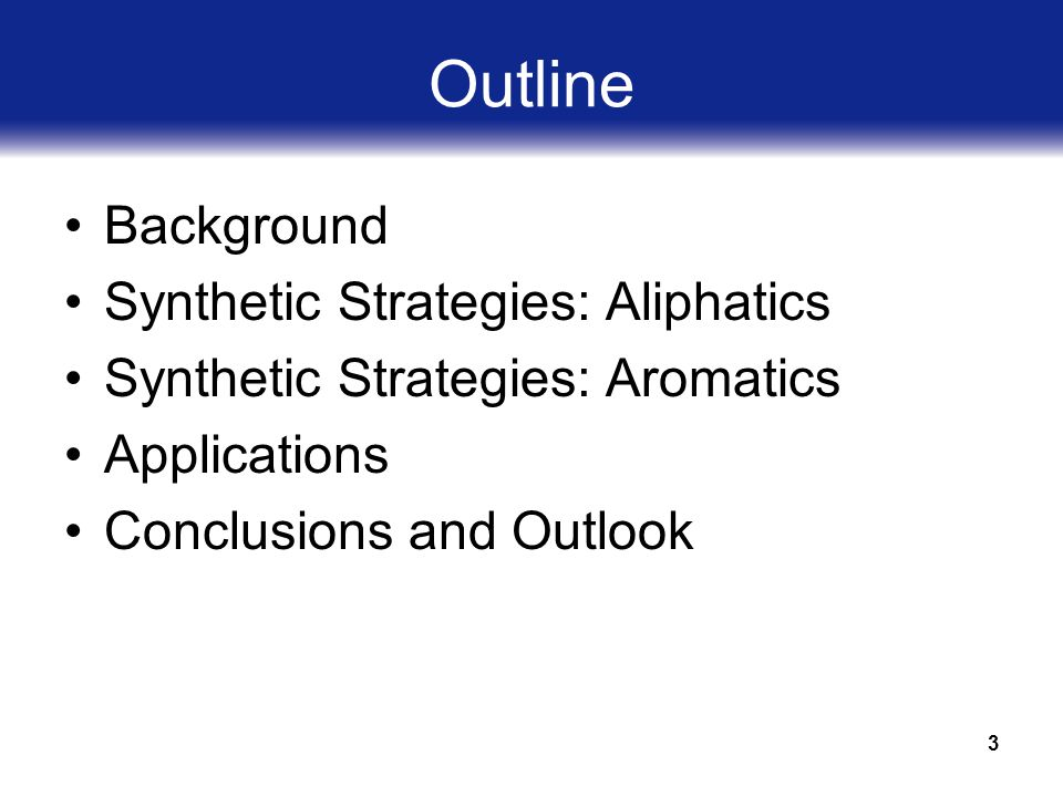 3 Outline Background Synthetic Strategies: Aliphatics Synthetic Strategies: Aromatics Applications Conclusions and Outlook