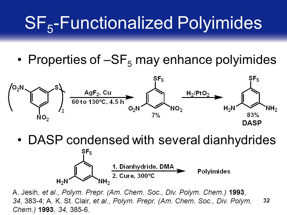 32 SF 5 -Functionalized Polyimides Properties of –SF 5 may enhance polyimides DASP condensed with several dianhydrides DASP A.