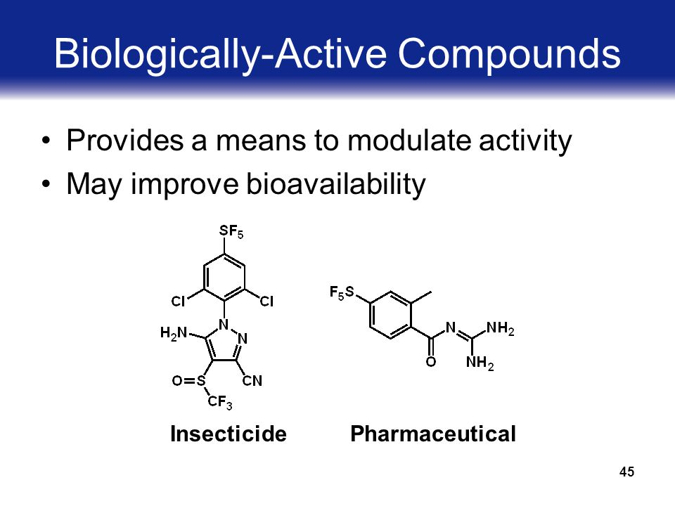 45 Biologically-Active Compounds Provides a means to modulate activity May improve bioavailability InsecticidePharmaceutical