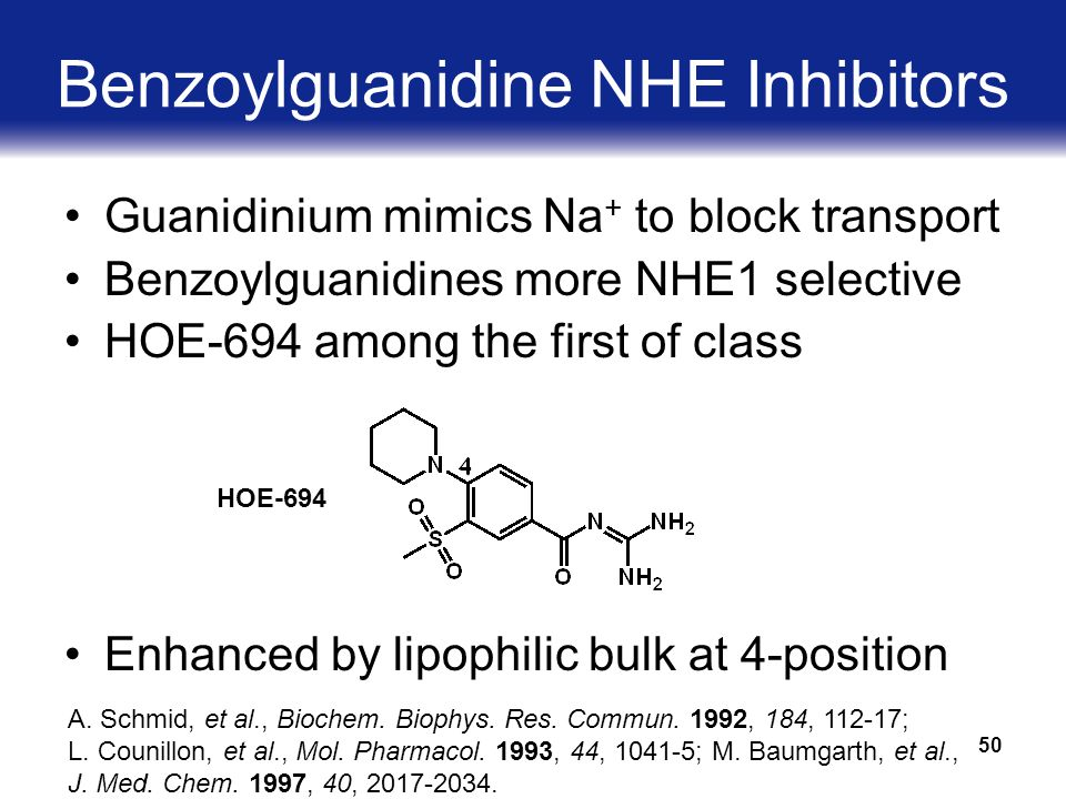 50 Benzoylguanidine NHE Inhibitors Guanidinium mimics Na + to block transport Benzoylguanidines more NHE1 selective HOE-694 among the first of class Enhanced by lipophilic bulk at 4-position HOE-694 A.