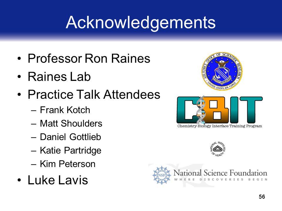 56 Acknowledgements Professor Ron Raines Raines Lab Practice Talk Attendees –Frank Kotch –Matt Shoulders –Daniel Gottlieb –Katie Partridge –Kim Peterson Luke Lavis