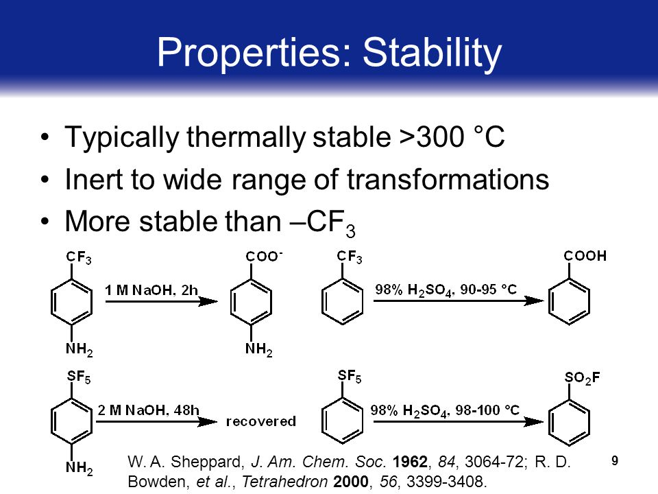 9 Properties: Stability Typically thermally stable >300 °C Inert to wide range of transformations More stable than –CF 3 W.