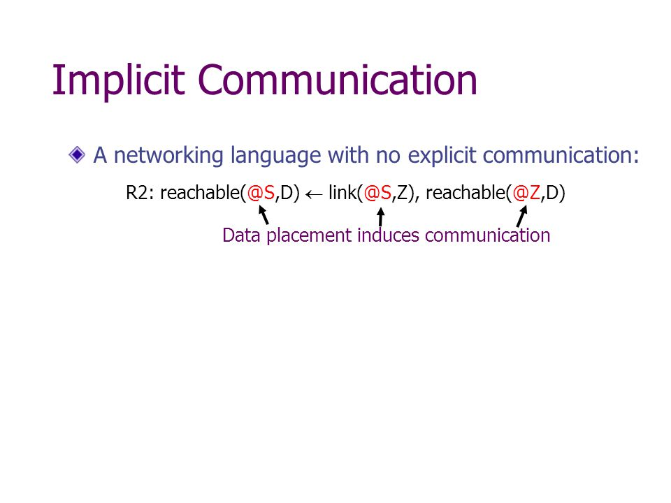 Implicit Communication A networking language with no explicit communication: R2: reachable(@S,D)  link(@S,Z), reachable(@Z,D) Data placement induces communication