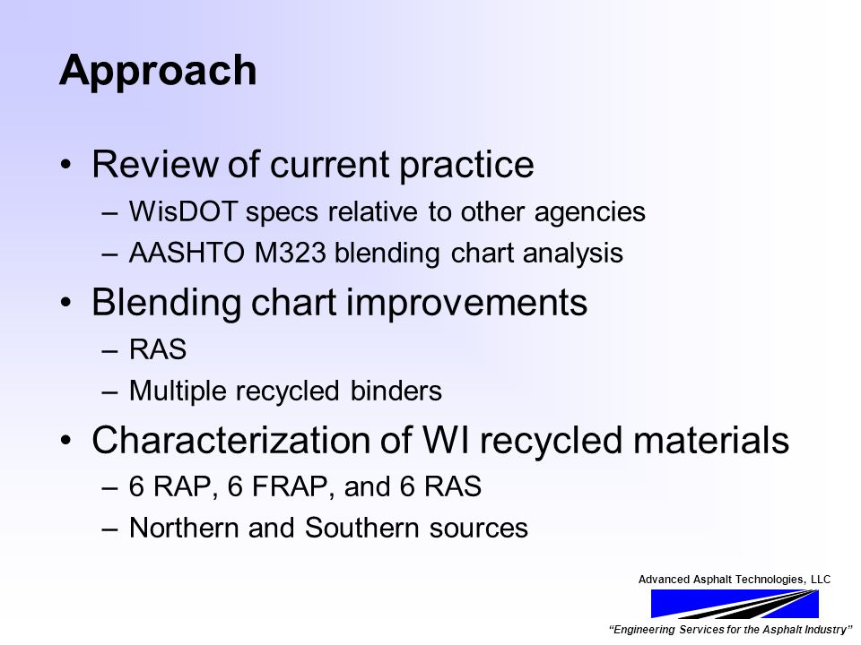 Advanced Asphalt Technologies, LLC Engineering Services for the Asphalt Industry Approach Review of current practice –WisDOT specs relative to other agencies –AASHTO M323 blending chart analysis Blending chart improvements –RAS –Multiple recycled binders Characterization of WI recycled materials –6 RAP, 6 FRAP, and 6 RAS –Northern and Southern sources