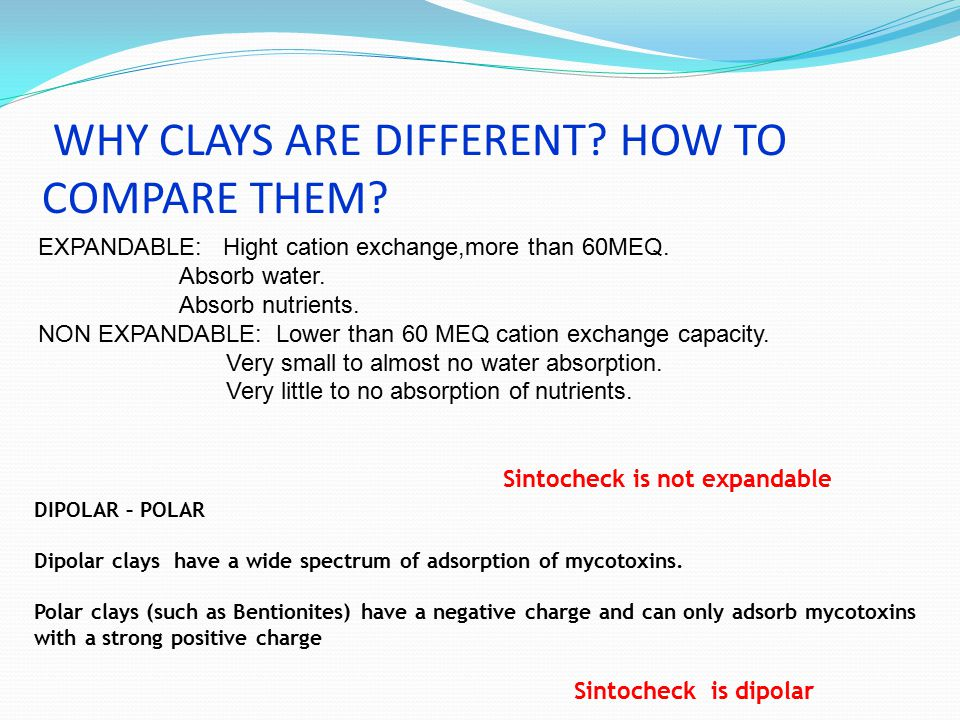 WHY CLAYS ARE DIFFERENT? HOW TO COMPARE THEM? DIPOLAR – POLAR Dipolar clays have a wide spectrum of adsorption of mycotoxins. Polar clays (such as Ben