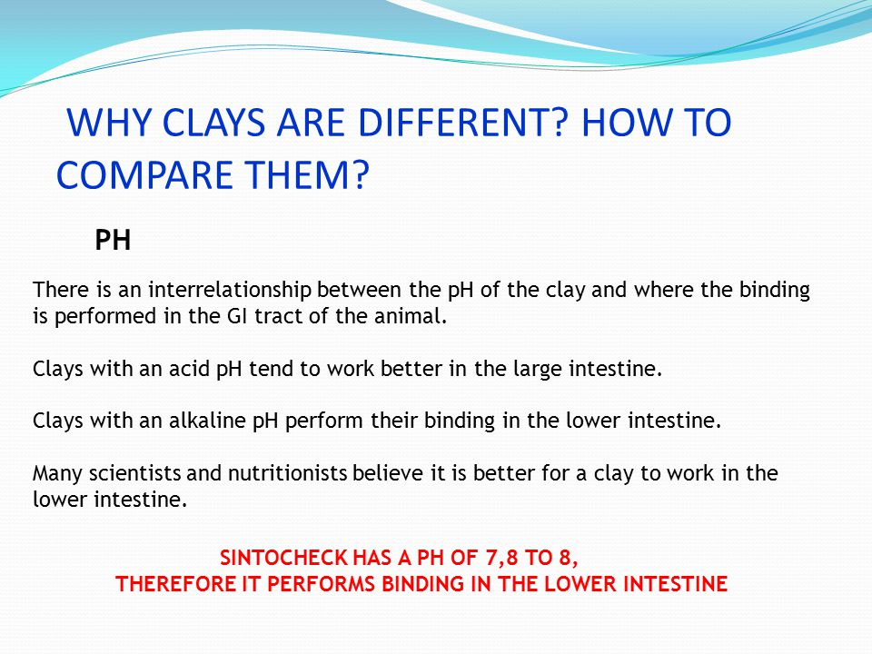 WHY CLAYS ARE DIFFERENT? HOW TO COMPARE THEM? PH SINTOCHECK HAS A PH OF 7,8 TO 8, THEREFORE IT PERFORMS BINDING IN THE LOWER INTESTINE There is an int