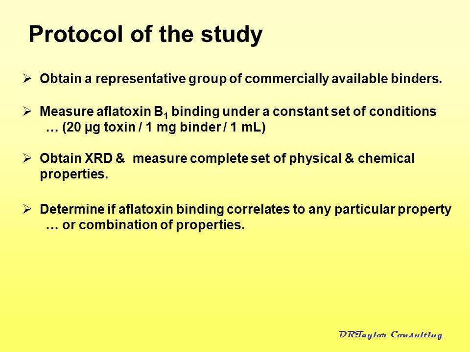 DRTaylor Consulting Protocol of the study  Obtain a representative group of commercially available binders.  Measure aflatoxin B 1 binding under a c