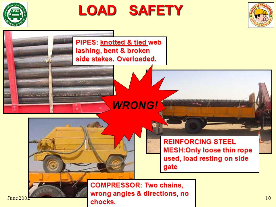 LOAD SAFETY June 200211 NOW, let us look at how to transport and restrain loads, particularly wheeled loads and heavy plant CORRECTLY….NOW, let us look at how to transport and restrain loads, particularly wheeled loads and heavy plant CORRECTLY….