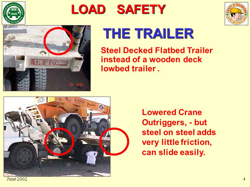 LOAD SAFETY June 20024 THE TRAILER Steel Decked Flatbed Trailer instead of a wooden deck lowbed trailer.