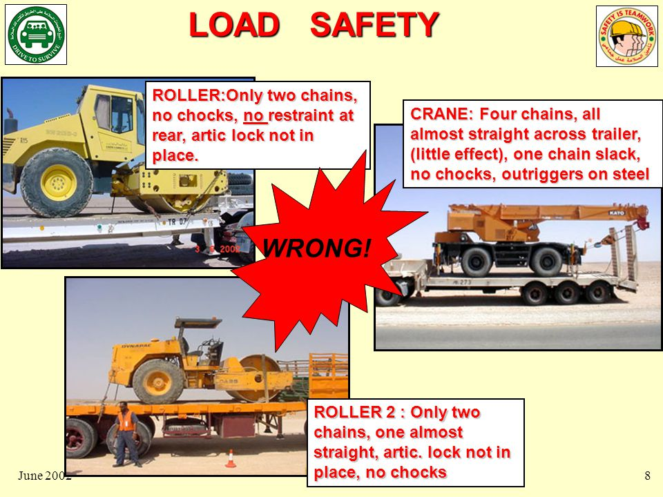 LOAD SAFETY June 20029 FORKLIFT:Only one chain thru`tow hook, almost straight across, minimal restraint.