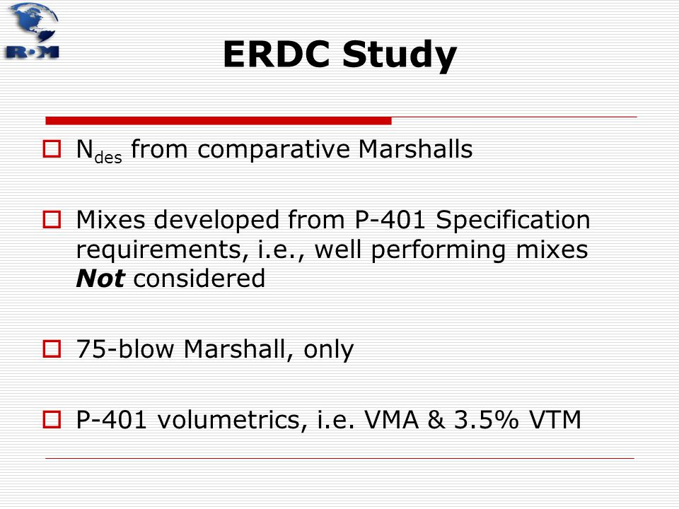 ERDC Study  N des from comparative Marshalls  Mixes developed from P-401 Specification requirements, i.e., well performing mixes Not considered  75
