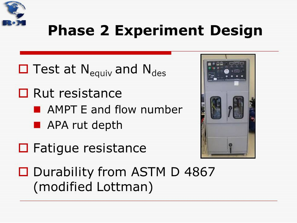 Phase 2 Experiment Design  Test at N equiv and N des  Rut resistance AMPT E and flow number APA rut depth  Fatigue resistance  Durability from AST