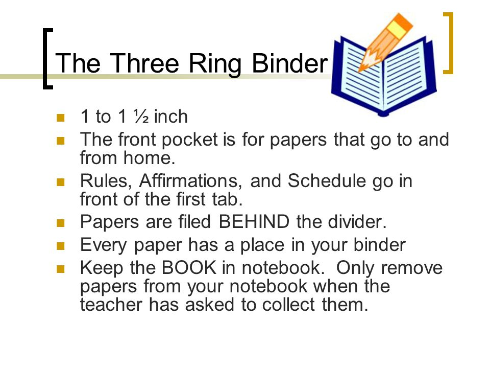 The Binder Continued...Use the metal tabs to open and close the rings.