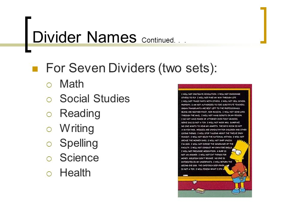 Divider Names Continued...