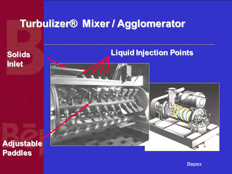 Bepex Turbulizer® Mixer / Agglomerator Solids Inlet Liquid Injection Points AdjustablePaddles
