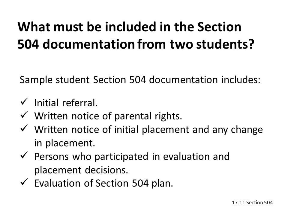 Sample student Section 504 documentation includes: Initial referral.