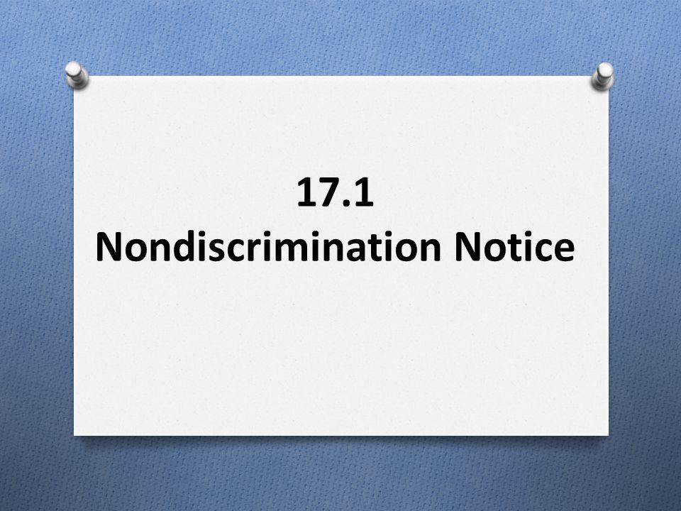 17.1 Nondiscrimination Notice