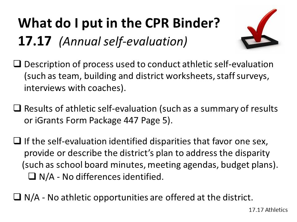 What do I put in the CPR Binder.