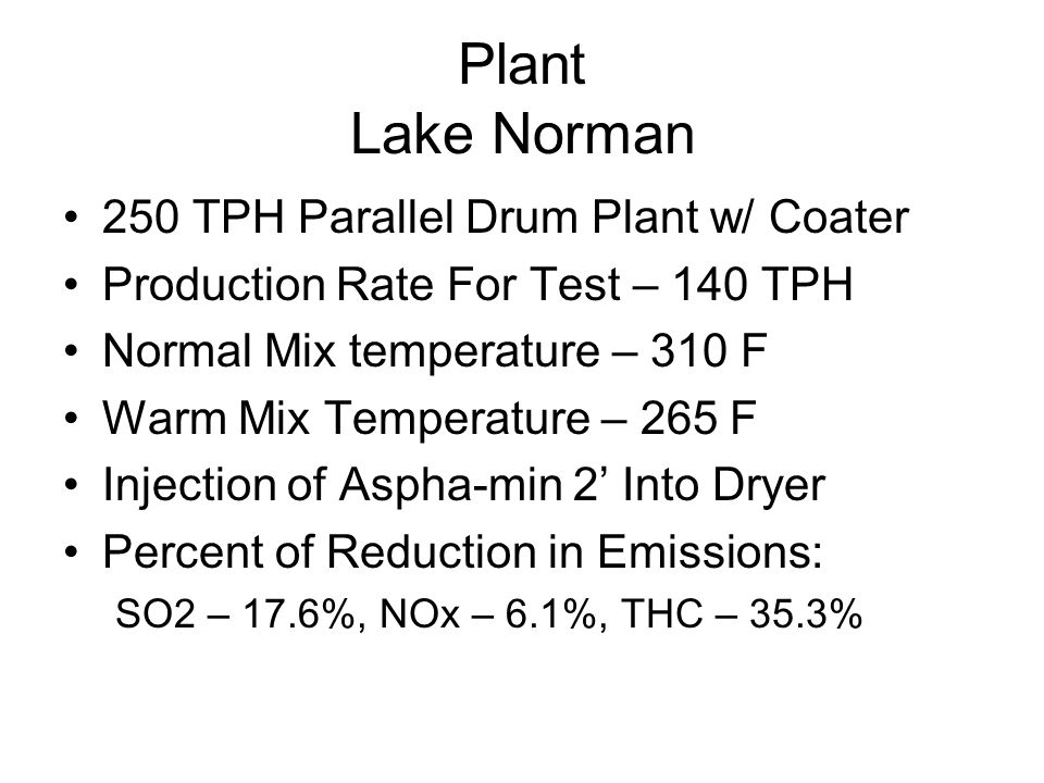 Plant Lake Norman 250 TPH Parallel Drum Plant w/ Coater Production Rate For Test – 140 TPH Normal Mix temperature – 310 F Warm Mix Temperature – 265 F