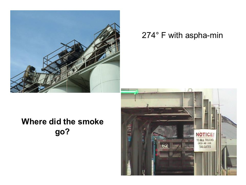 274° F with aspha-min Where did the smoke go